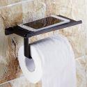 (Entrepôt UE) Porte-papier porte-téléphone accessoires de salle de bain en cuivre rétro noir style européen