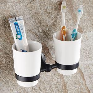 (Entrepôt UE) Style européen Accessoires de salle de bain en cuivre rétro en noir Porte-brosse à dents à double tasse
