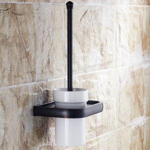 (Entrepôt UE) Style européen Accessoires de salle de bain en cuivre rétro en noir support de brosse de toilette