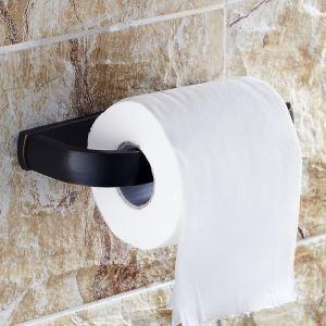 (Entrepôt UE) Style européen Accessoires de salle de bain en cuivre Porte-papier noir rétro
