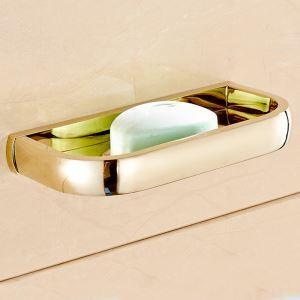 (Entrepôt UE) Style moderne simple Accessoires de salle de bain en cuivre Porte-savon d'or