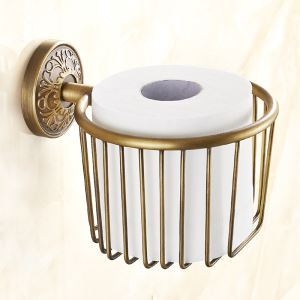 (Entrepôt UE) Porte-papier accessoire de salle de bain en cuivre style européen rétro