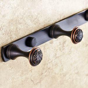 (Entrepôt UE) Style européen rétro Accessoires de salle de bain en cuivre Vêtements crochet Patère crochet rangée