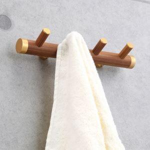 (Entrepôt UE) Style européen simple Accessoires de salle de bain en bois Quatre rangs Vêtements crochet Patère