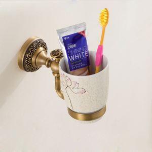 (Entrepôt UE) Style européen rétro accessoires salle de bain en cuivre porte-gobelets à dents unique