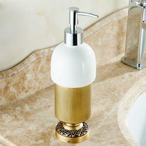 (Entrepôt UE) Style européen rétro accessoires salle de bain en cuivre Désinfectant pour les mains porte-gobelets assis