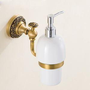 (Entrepôt UE) Style européen rétro accessoires salle de bain en cuivre Désinfectant pour les mains porte-gobelets fixé au mur