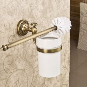 Porte-brosse de toilette rétro accessoires salle de bain en cuivre Le fond du trou / sans trous deux modèles