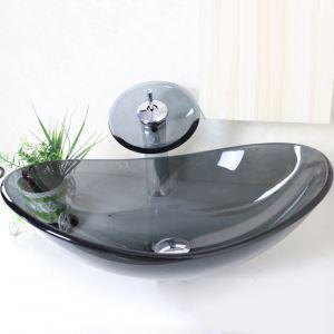 Vasque à poser verre L 54.5 cm gris ovale avec robinet cascade pour salle de bain