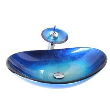Vasque à Poser Verre Trempé L 54.5 Cm Bleu Avec Robinet Pour Salle De Bain