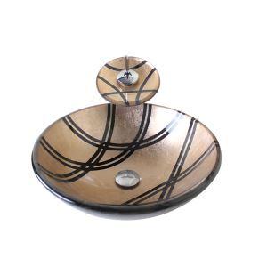 Vasque à poser verre trempé D 42 cm rond brun jaunâtre avec robinet pour salle de bain