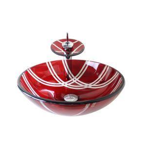 Vasque à poser verre trempé D 42 cm rond rouge avec robinet pour salle de bain