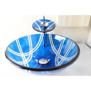 Vasque à poser verre trempé D 42 cm rond bleu avec robinet pour salle de bain