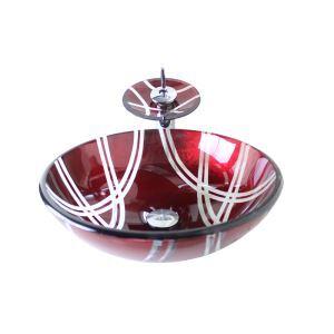 Vasque à poser verre D 42 cm rond rouge de vin avec robinet pour salle de bain