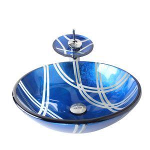 Vasque à poser verre D 42 cm rond bleu avec robinet pour salle de bain