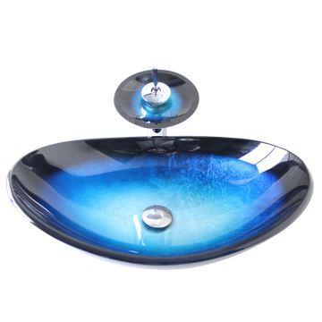 Vasque à Poser Verre Trempé L 54.5 Cm Bleu Bordure Noire Avec Robinet Pour  Salle De Bain