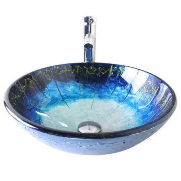 Vasque à poser verre trempé avec robinet rond bleu D 42 cm pour ...