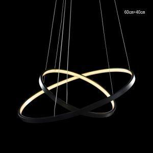 (Entrepôt UE) Moderne simple LED suspension en aluminium Lampe décorative noir 2 anneaux 60+40cm