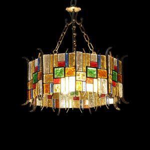 (Entrepôt UE) Style européen Abat-jour en verre coloré matériel en fer 5 lumières Suspension