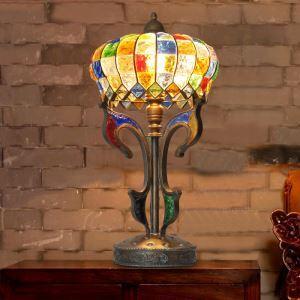 (Entrepôt UE) Style européen Abat-jour en verre coloré matériel en fer 1 lumières Lampe de table