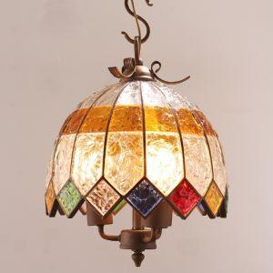 (Entrepôt UE) Style européen Abat-jour en verre coloré matériel en fer 3 lumières Suspension diamètre 40cm