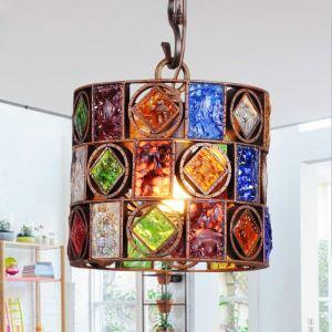 (Entrepôt UE) Style européen Abat-jour en verre coloré matériel en fer 1 lumières Suspension en forme de ligne de poisson
