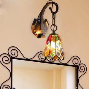 Applique murale en verre coloré matériel en fer 1 lumière lampe pour couloir chambre restaurant