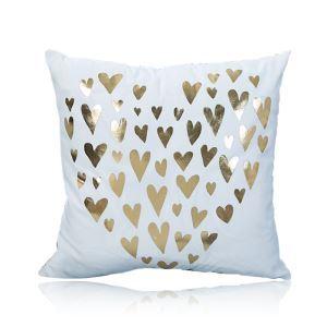 (Entrepôt UE) Moderne simple Ultra-doux L'amour doré argent chaud Coton canapé voiture oreiller
