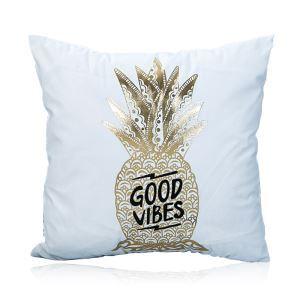 (Entrepôt UE) Moderne simple Ultra-doux ananas dorés argent chaud Coton canapé voiture oreiller