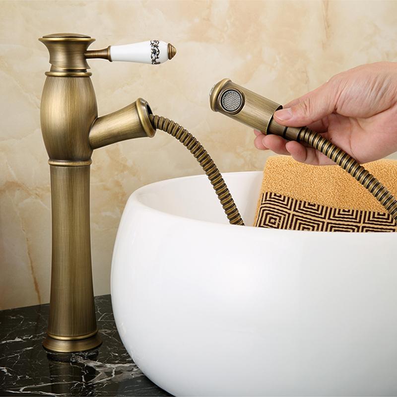 Mitigeur De Cuisine Avec Douchette Vieux Laiton Poignee Ceramique