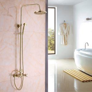 Colonne de douche avec robinetterie en cuivre Ti-PVD or pour salle de bains