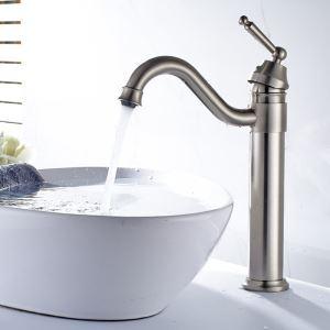 Robinet de lavabo en cuivre argent brossé H34cm pour salle de bain