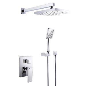Colonne de douche avec robinetterie encasrtée en laiton chromé pour salle de bains