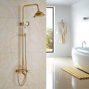 Colonne de douche avec robinetterie en laiton or pour salle de bains