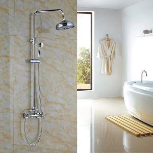 Colonne de douche avec robinetterie en cuivre chromé pour salle de bains