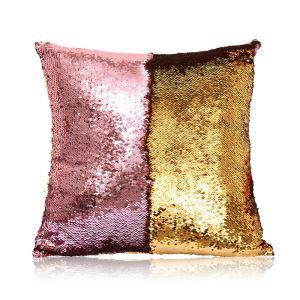 Taie de coussin 2 couleurs magique rose et or 40*40cm