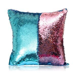 (Entrepôt UE) (En Stock) Sirène paillettes de deux couleur Oreiller Coussin Sequin couleur Flip magie DIY KTV Bar festival voiture boîte de nuit ciel bleu+rose