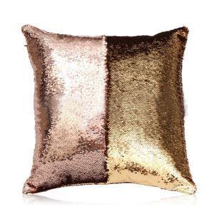 (Entrepôt UE) Sirène paillettes de deux couleur Oreiller Coussin Sequin couleur Flip magie DIY KTV Bar festival voiture boîte de nuit Champagne+or