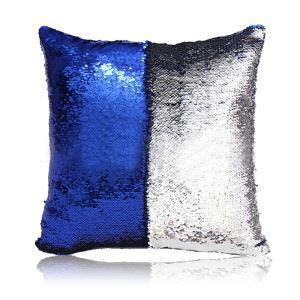 Taie de coussin 2 couleurs magique bleu et argent 40*40cm
