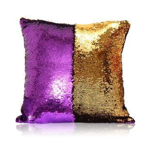 Taie de coussin 2 couleurs magique violet et or 40*40cm