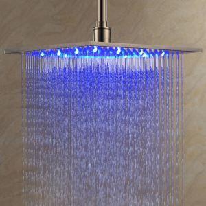 Pomme haute carrée L.30 x l.30 cm LED en acier inoxydable pour salle de bains