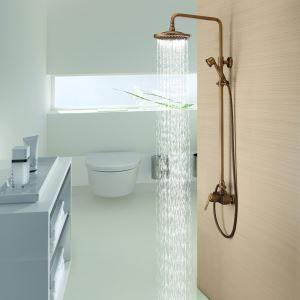 Colonne de douche laiton antique mitigeur pour salle de bains toilettes