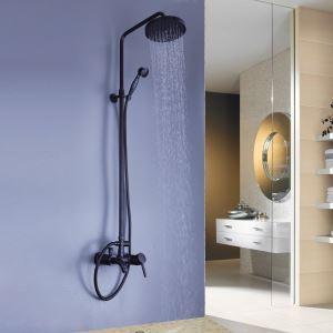 Colonne de douche laiton noir cascade bronze huilé pour salle de bains