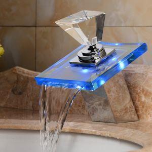 Robinet d'évier LED cascade pour salle de bains