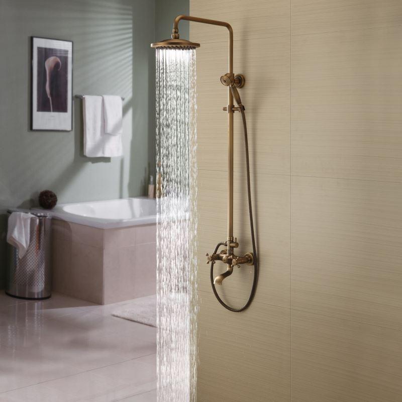 Colonne de douche en laiton avec robinetterie r tro pour salle de bain - Robinetterie laiton salle de bain ...