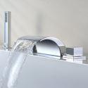 Robinet de baignoire avec douche à main chromé cascade Deux poignées