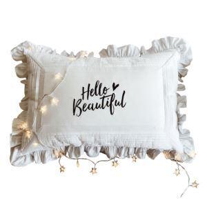 (Entrepôt UE) Village américain volanté en coton lettre blanc broderie Coussins de lit