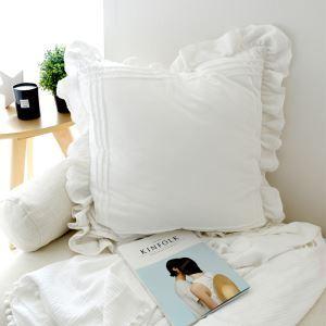 (Entrepôt UE) Village américain dentelle volantée en coton blanc broderie grand oreiller 60*60cm