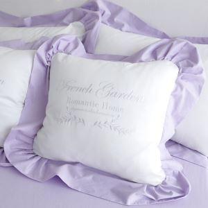 (Entrepôt UE) Village américain en coton volanté broderie Lettre violet coussin oreiller