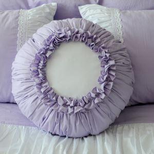 (Entrepôt UE) Village américain en coton rond créãtif coussin oreiller violet coussin de citrouille
